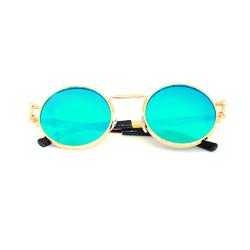 Очки солнцезащитные (SG-015) зеленый хамелеон, утолщенная оправа цвет золотой