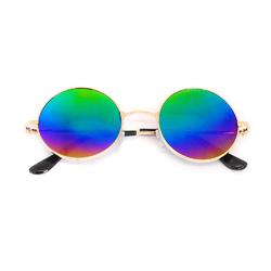 Очки солнцезащитные (SG-003) зеленый хамелеон, оправа цвет золотой